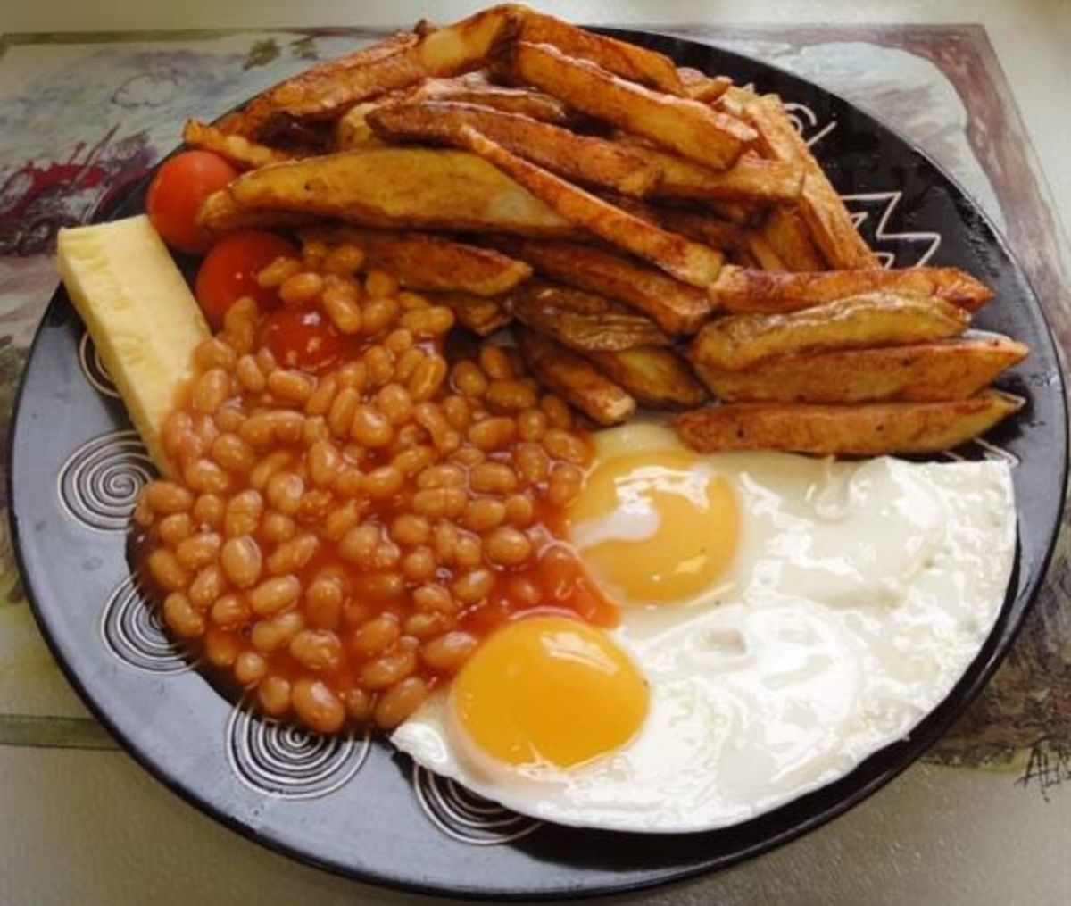 Egg chips and baked beans