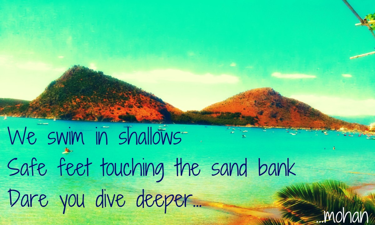 Haiga V: Deeper ( Greek coastline near one of the cycladic islands)
