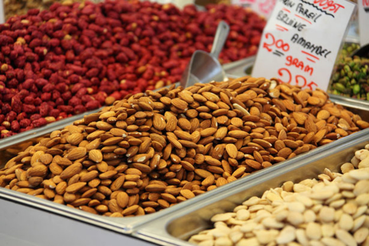 Almonds on a market