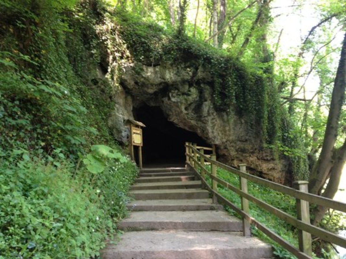 The cave entrance. Take a walk through the riverside woodland, step inside to meet...