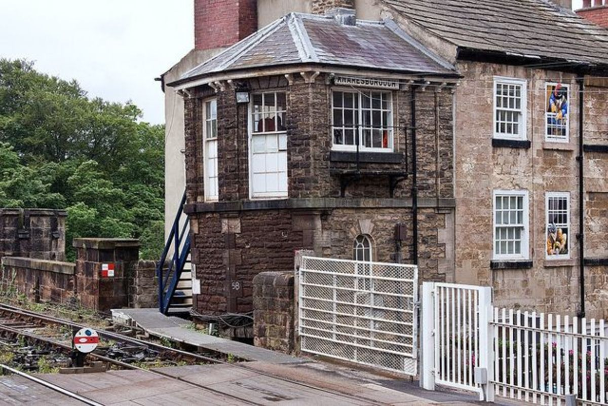 The quaint listed signal cabin at Knaresborough Station looks like an 'add-on' to the end of a neighbouring building