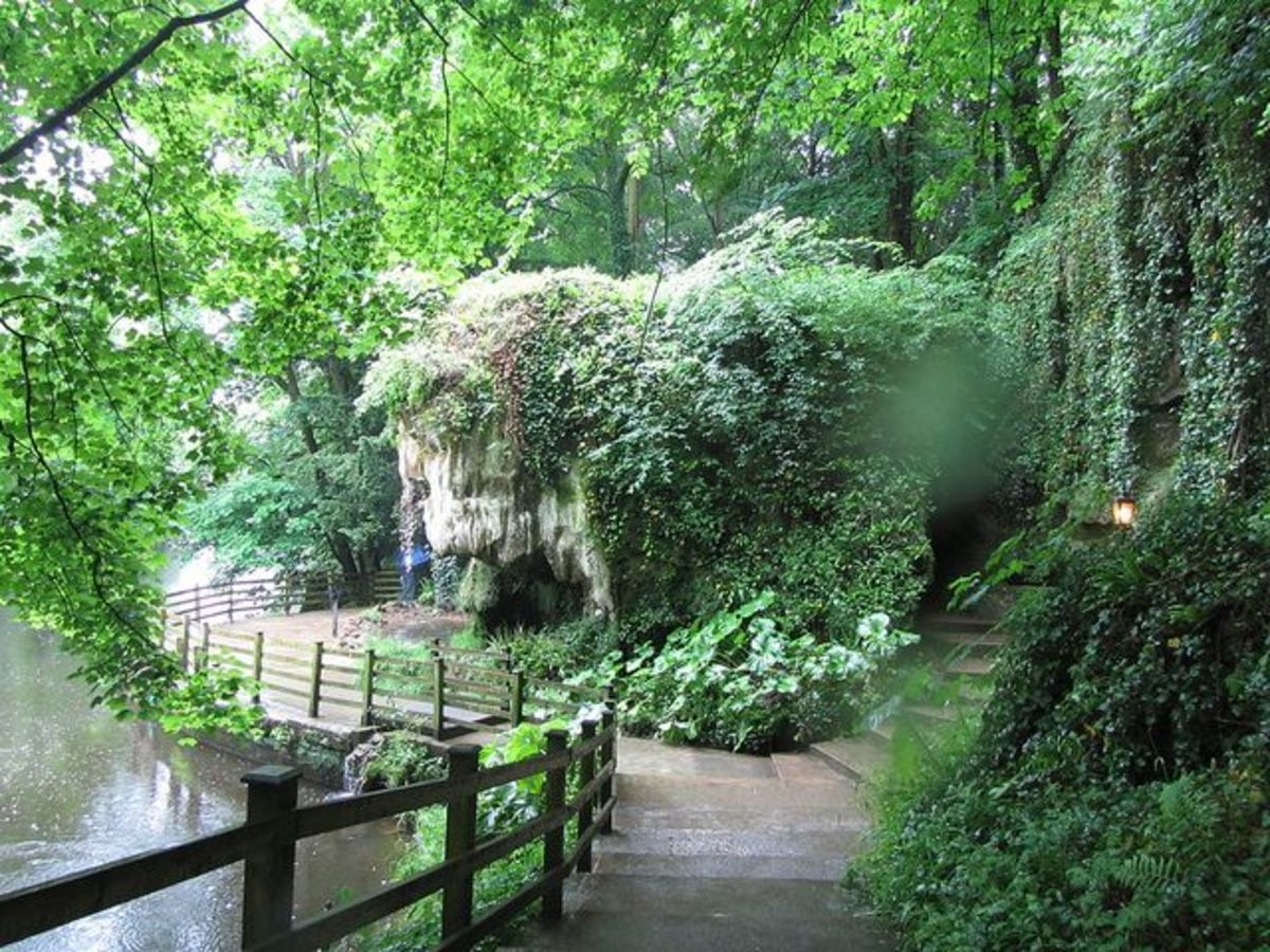 The riverside path near Ursula Southill's cave, showing the steps leading up the the entrance