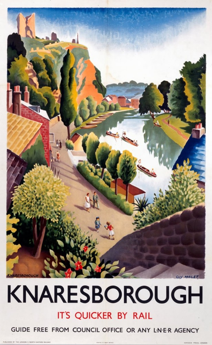 1930s London & North Eastern Railway poster advertises railway trips to Knaresborough - then in the West Riding