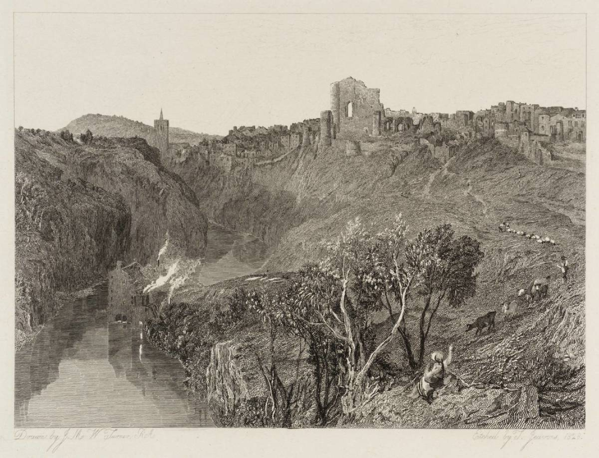 Knaresborough Castle etching shows the ruin in the 18th Century