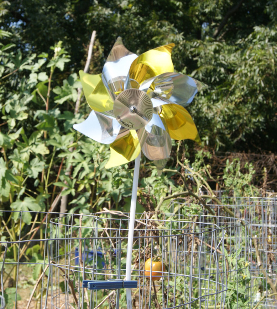Pinwheels help keep birds away