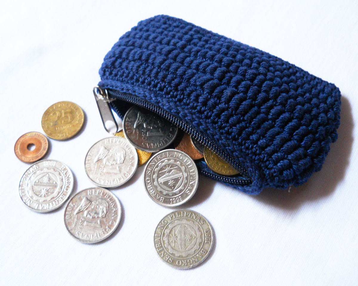 BULLIONOBIA Coin Purse - this is crocheted with incomplete bullion stitches worked in a spiral, I made this for my husband.