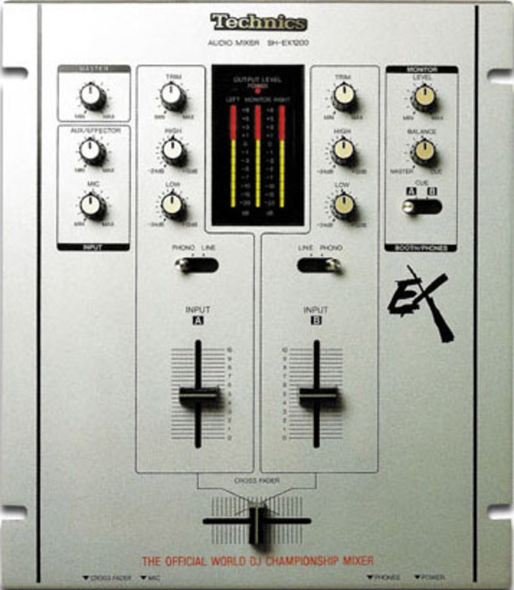 A basic mixer with a crossfader at the bottom, two volume faders, and eqs.