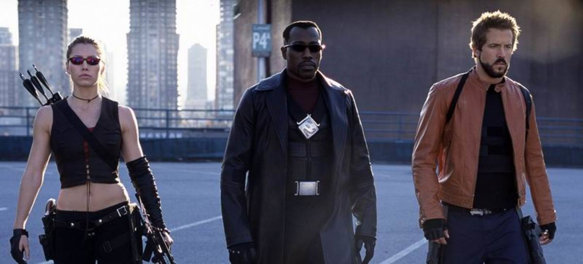 Jessica Biel, Wesley Snipes and Ryan Reynolds in Blade Trinity (2004)