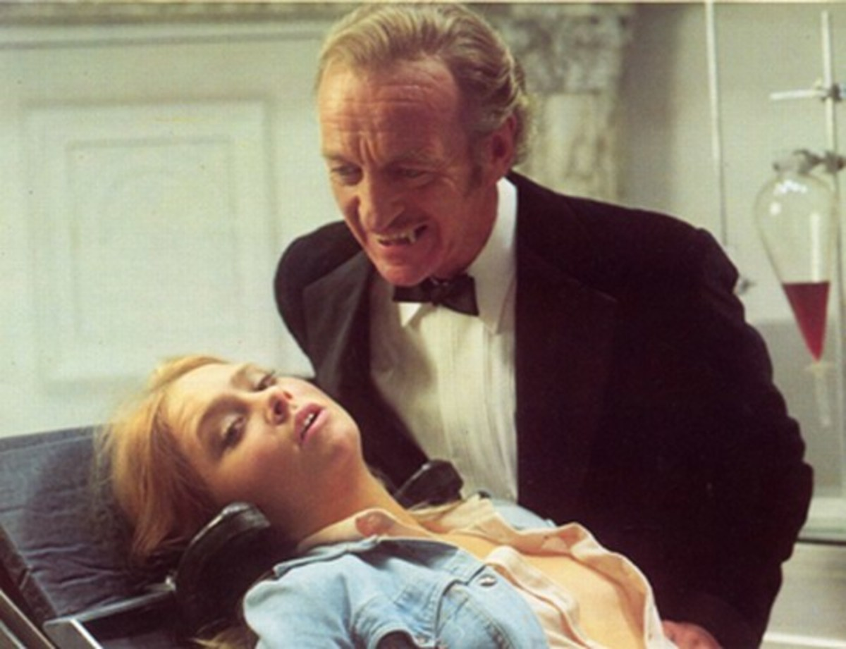 David Niven and Linda Hayden in Vampira (1975)