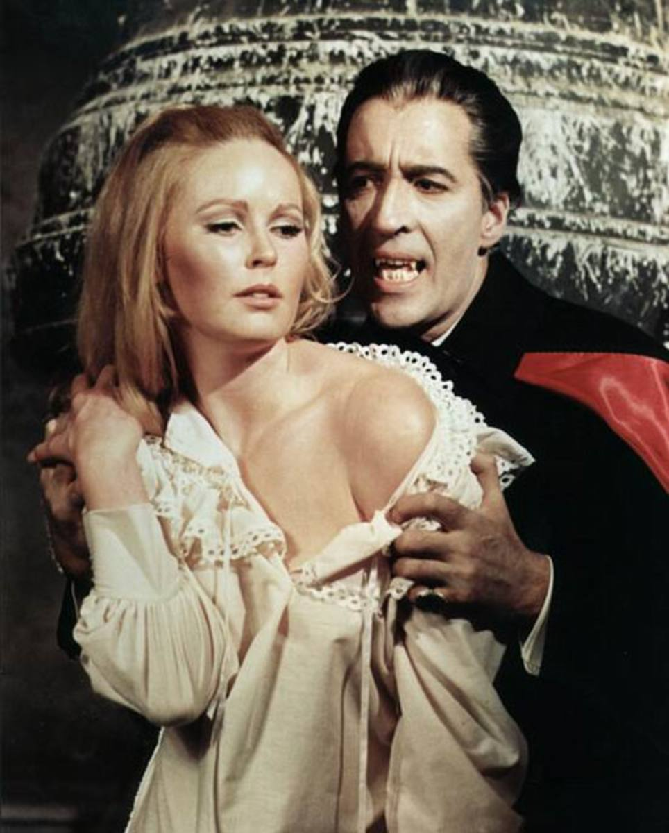 Veronica Carlson and Christopher Lee in Dracula Has Risen from the Grave (1968)