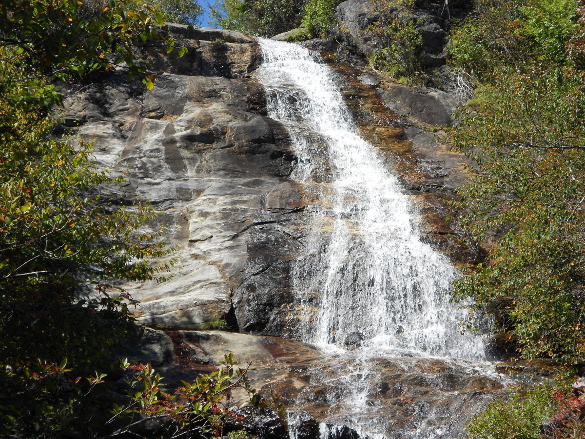 Upper Falls is one western North Carolina waterfall worth climbing for.  Once you get to the bottom be sure to climb up to get this view of the upper portion of Upper Falls.