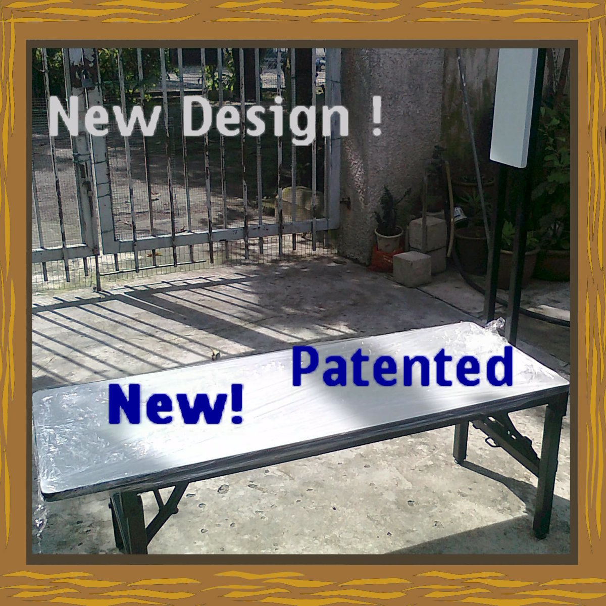 Bench Top is Chipboard. Legs are foldable. Rm650.