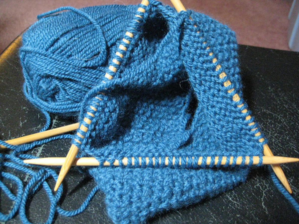 Knitting with double pointed needles.