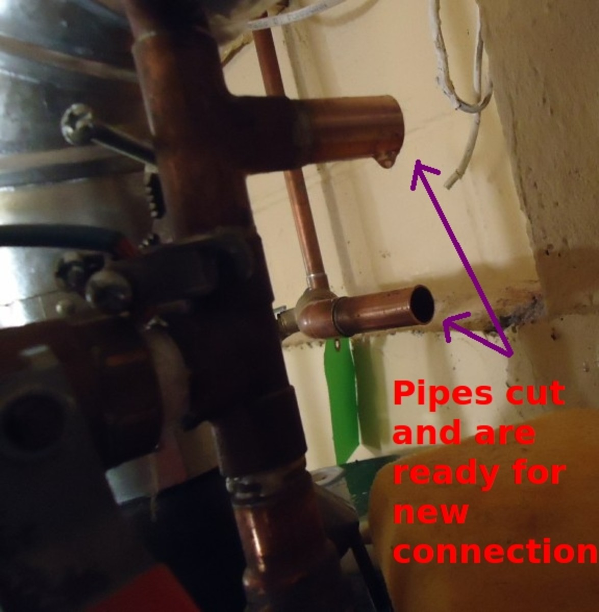 Prep the ends of the pipes for the whole-house purifier's plumbing connections.