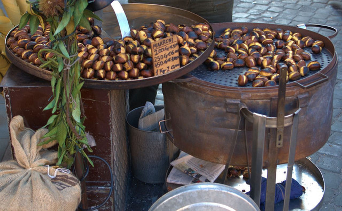 Selling roast chestnuts