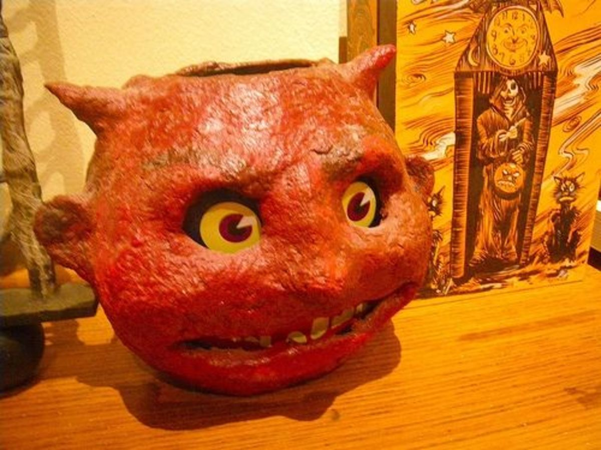 Antique Halloween Devil Paper Mache