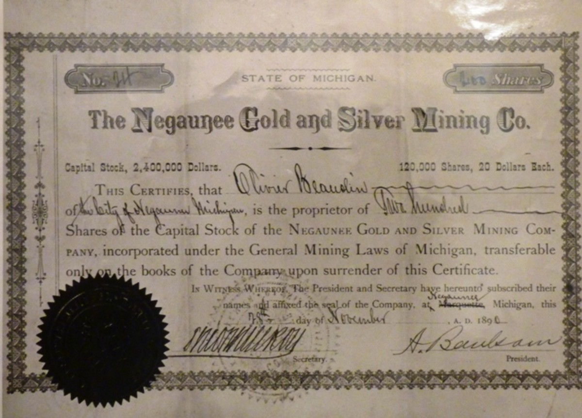one of the many gold stock certificates