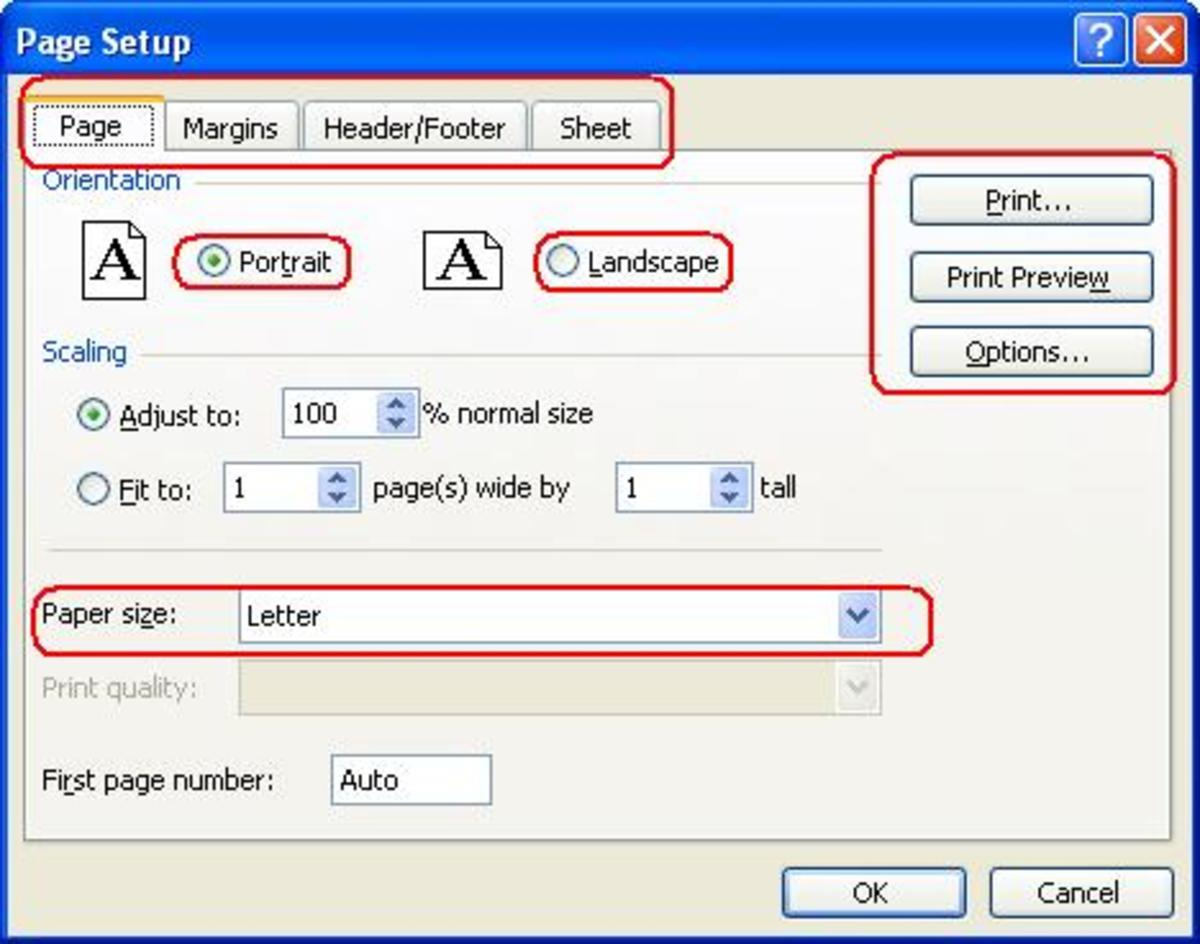Page set up option
