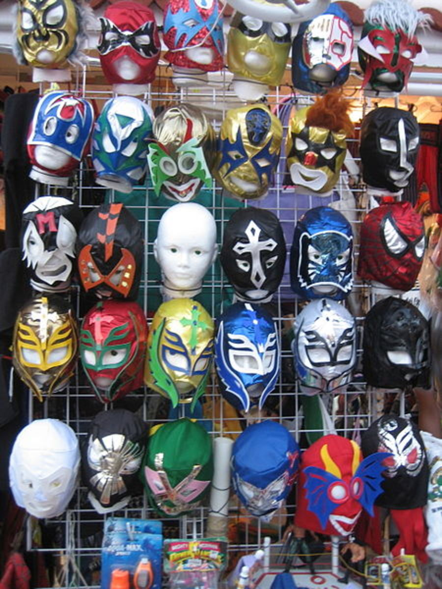 A display of Luchador masks at a shop in Mexico.