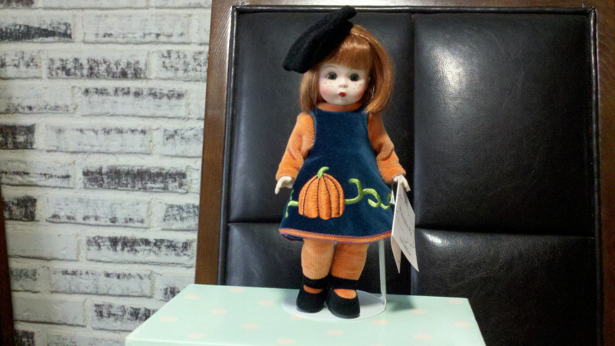 Adorable Doll by Madame Alexander Dressed in Velvet Jumper Dress with Embroidered Orange Pumpkin
