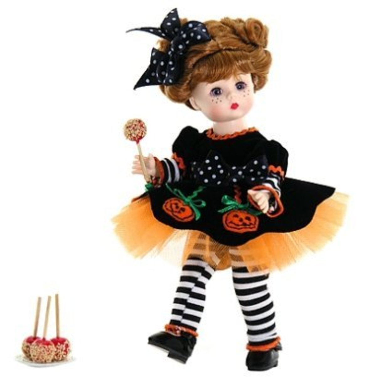 Madame Alexander Halloween Doll in Black and Orange Dress with Pumpkins and Black and White Striped Tights and Taffy Apples