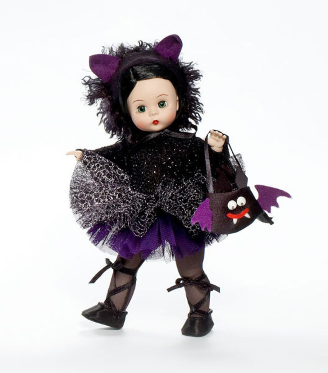 Madame Alexander Black and Purple Halloween Doll with Purple Ears with Purple Bat Purse - Fantasy Cat