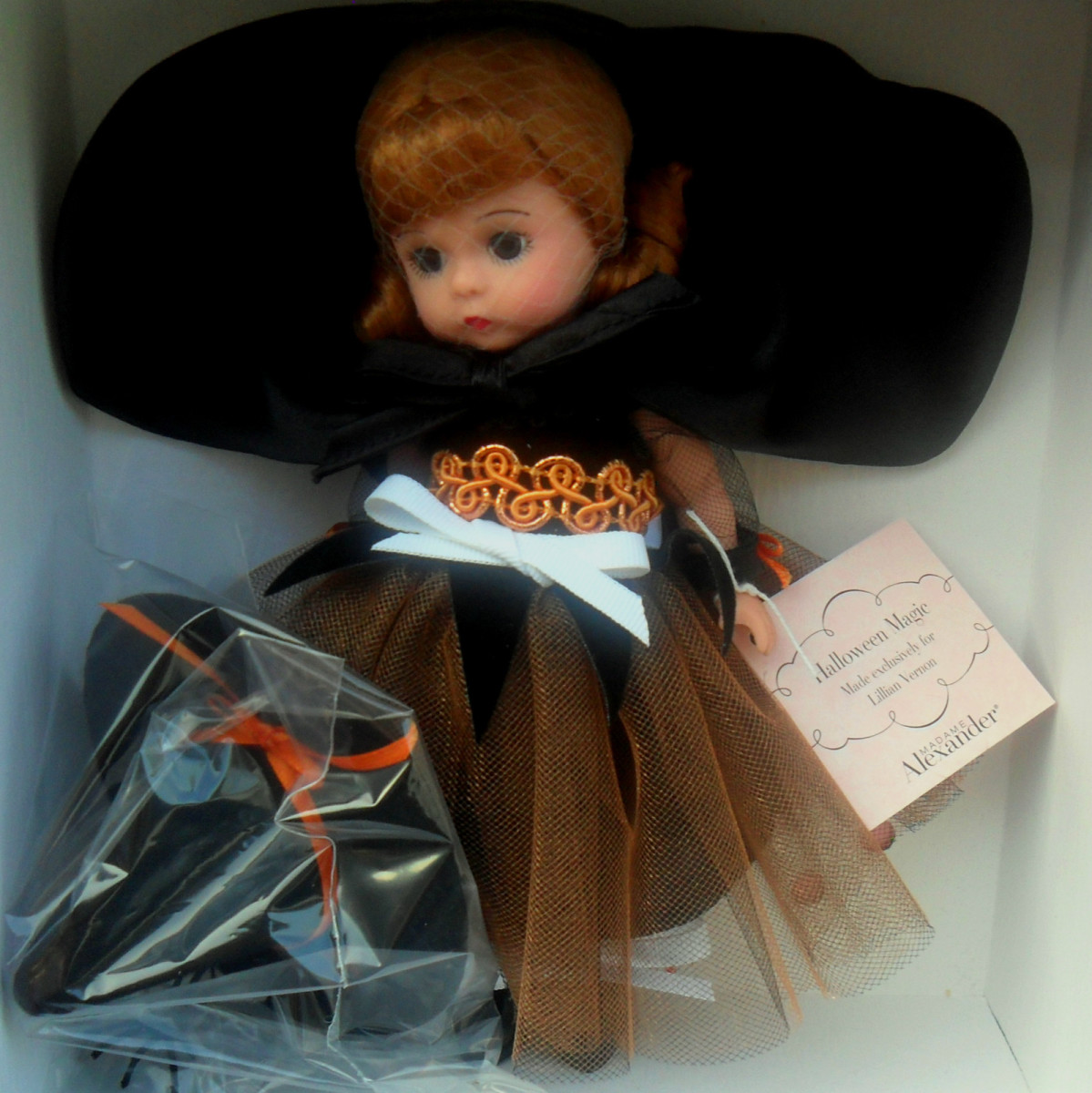 Madame Alexander Doll with Big Black Witch Hat and Copper/Orange/Black Dress