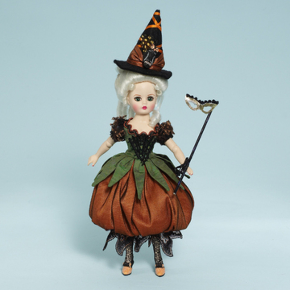Elegant Witch Doll with Wand and Hat by Madame Alexander - Dress is Pumpkin Shaped