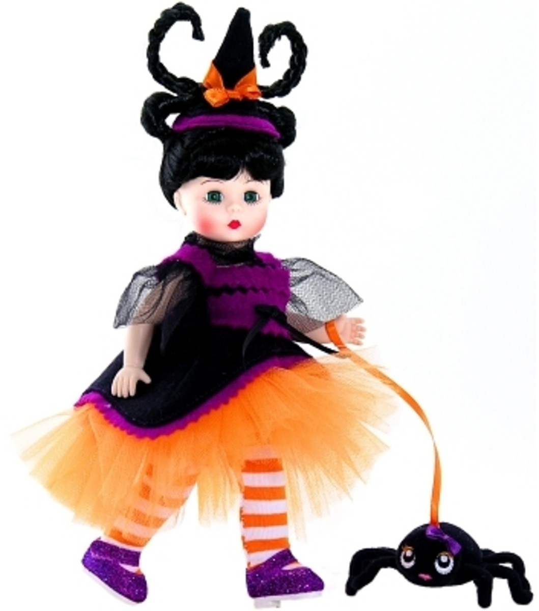 Madame Alexander Halloween Doll in Black and Orange Dress with Orange and White Tighter with Black Spider - Adorable Witch Hat