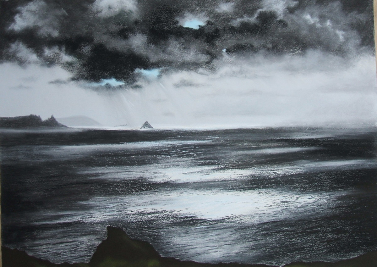 Atlantic Light, Charcoal and Unison Pastel on Arches Watercolour Paper
