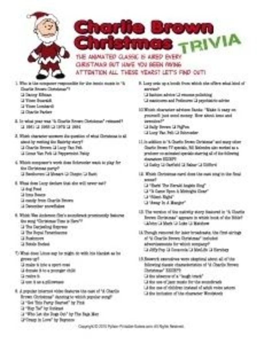 Printable Games For Christmas Are Fun!  Take A Look At This Printable Charlie Brown Christmas Trivia Game.