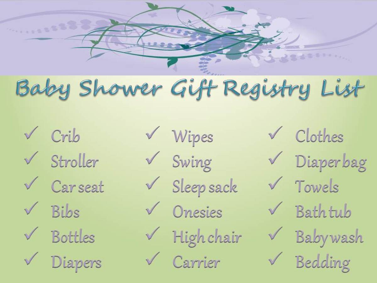 An example of a basic baby gift registry list.