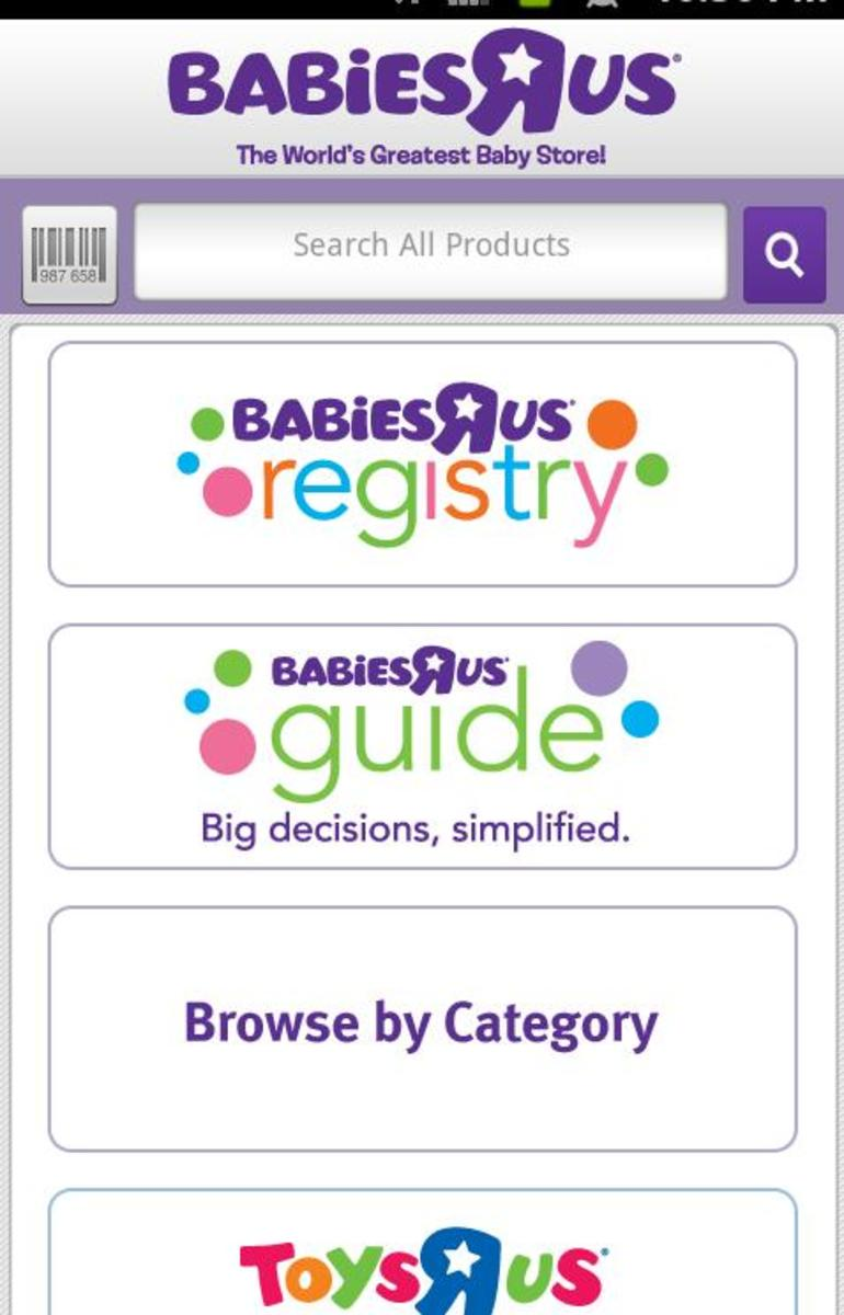 A screenshot of the Babies R' Us mobile baby  registry app.