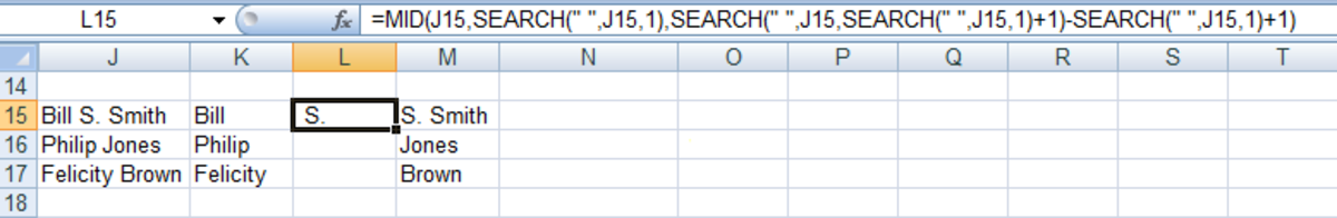 Using the MID function to extract a middle initial from a cell containing a name in Excel 2007.