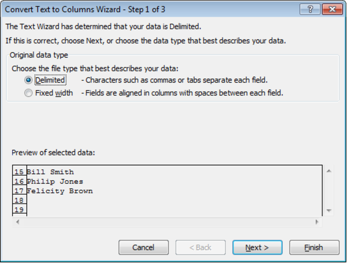 Text to Columns Wizard Step 1 of 3 in Excel 2007.