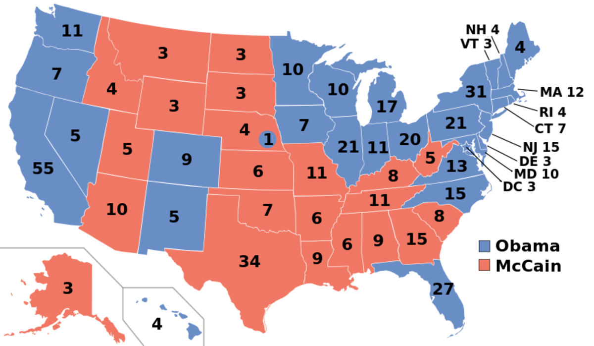 The 2008 Electoral College Map: Obama vs. McCain
