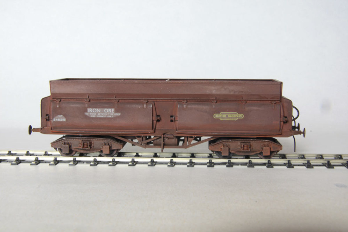 Dave Bradwell 56 ton ironstone hopper  kit, made up for Scalefour Society model railway exhibition