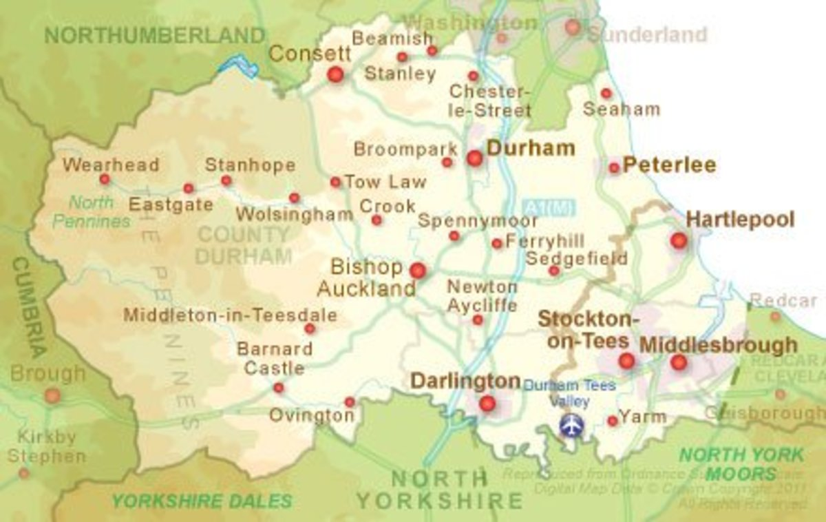 County Durham and North Yorkshire, particularly industrial Teesside share strong links with an intense industrial past remembered by museums and historical leisure centres such as at Shildon and Beamish
