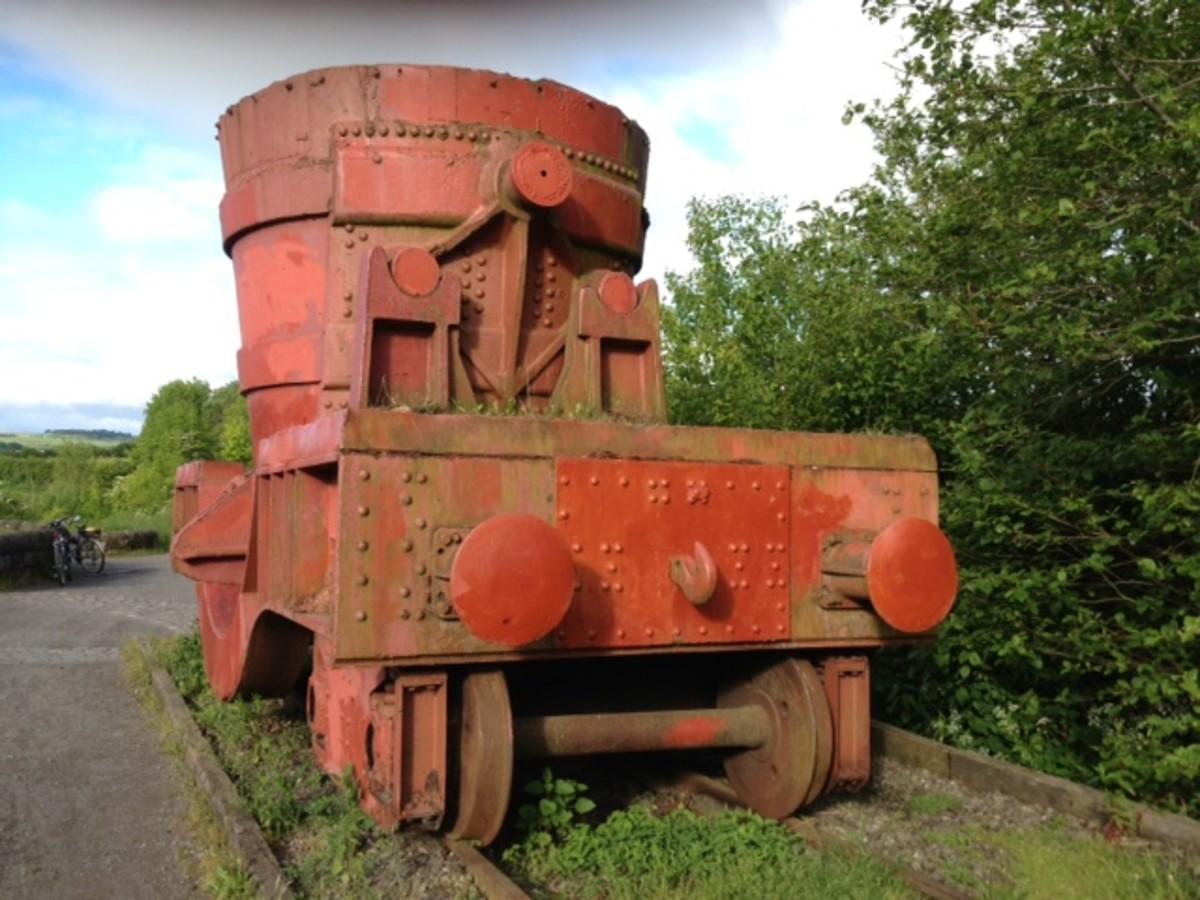 Slag ladle wagon at Consett - in memoriam