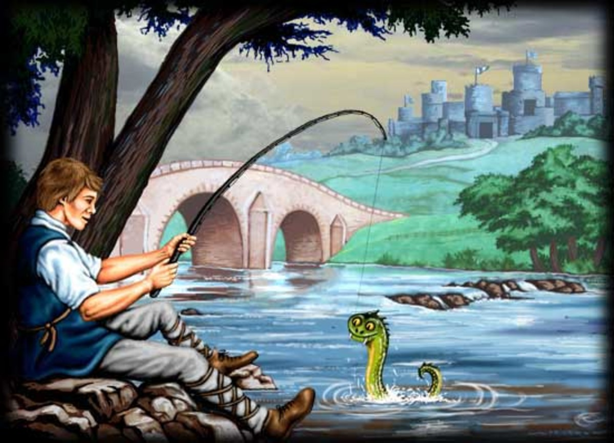 The legend begins, of John Lambton and the Lambton worm - John fishing the creature from the river by the bridge when he was expected to be in church...