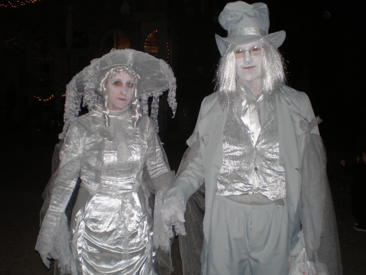 "These impressive specters 'haunted' the village one Halloween. They didn't say a word, but kindly allowed a picture of their costumes. At least, I THINK they were just in costume... Can you say ""Boo!""?"