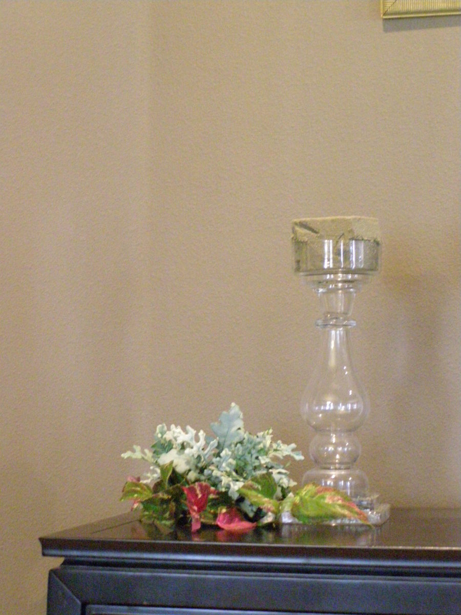 Glass candlestick, foliage and flowers, filled with foam (for silk flowers) ready to make a candle centerpiece