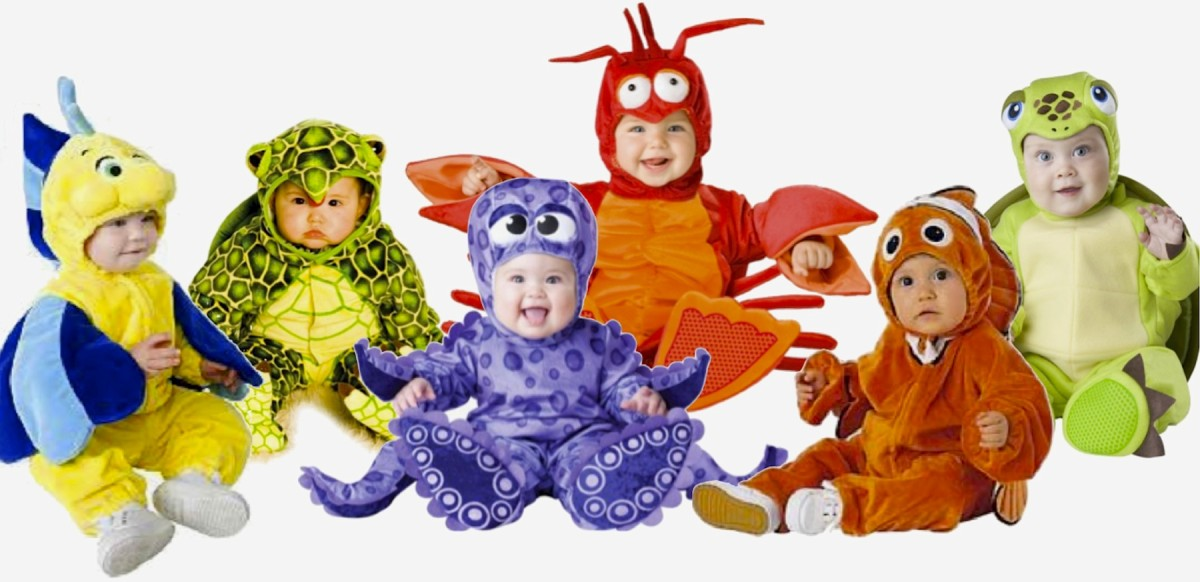 Baby Flounder Hoodie+Pants, Baby Turtle 3pc Jumpsuit, InCharacter Tiny Tentacles 3pc Octopus Costume, Lil Characters 3pc Lobster  Costume, Disney Clownfish Hooded Jacket+Pants, and InCharacter Tiny Turtle Jumpsuit w/Detachable Shell. Available at