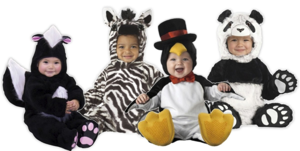Lil Character Skunk ,  Zebra Chenille Jumpsuit, InCharacter Penguin Jumpsuit, Booties and Top-Hatted Hood, and California Costumes Chenille Panda Jumpsuit with Hands, Feet and Hood, all with snap legs. And all available at