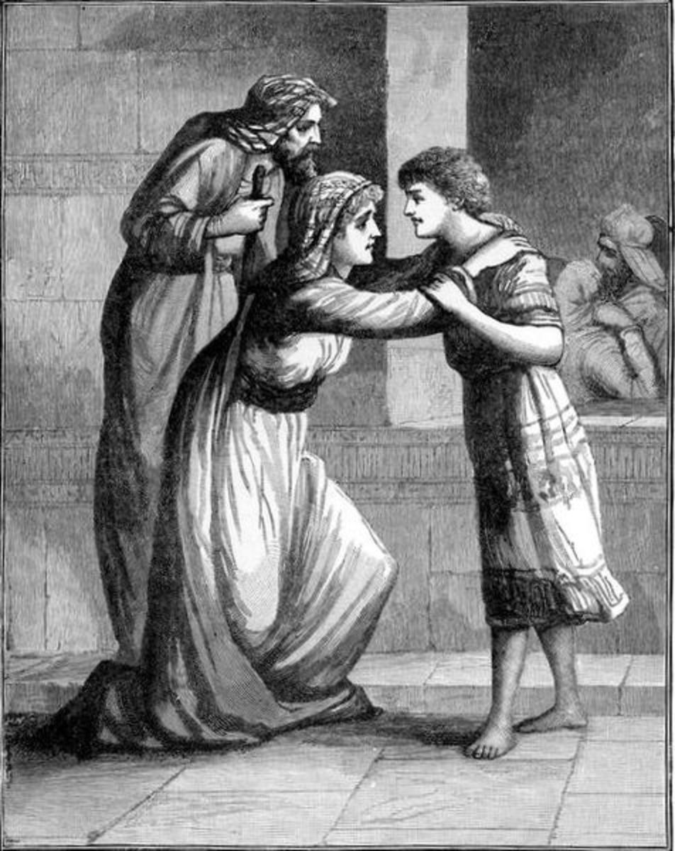 Hannah leaves Samuel at the temple.