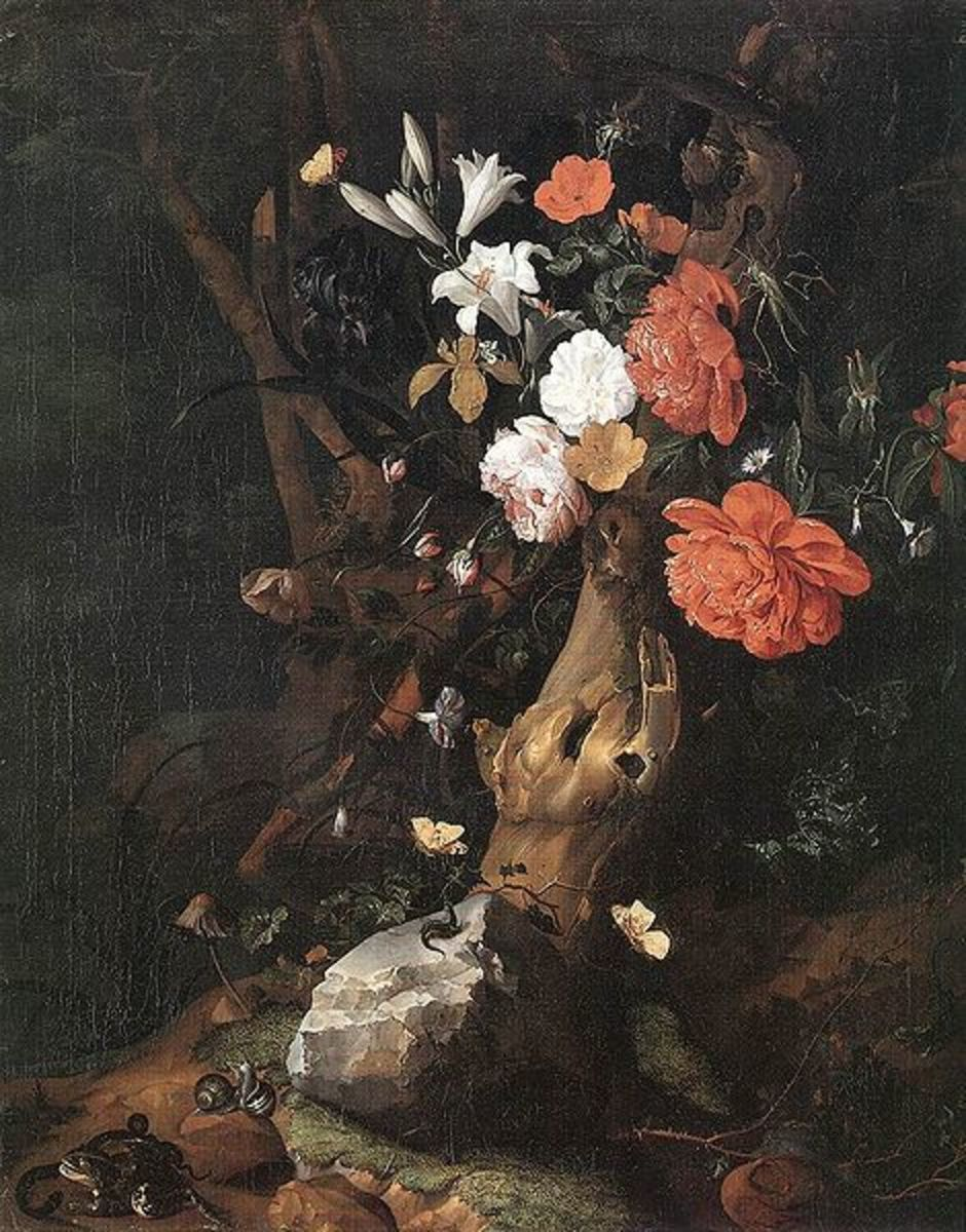 Flowers on a Tree Trunk is in the public domain in the United States and those countries with a copyright term of life of the author plus 100 years or less.