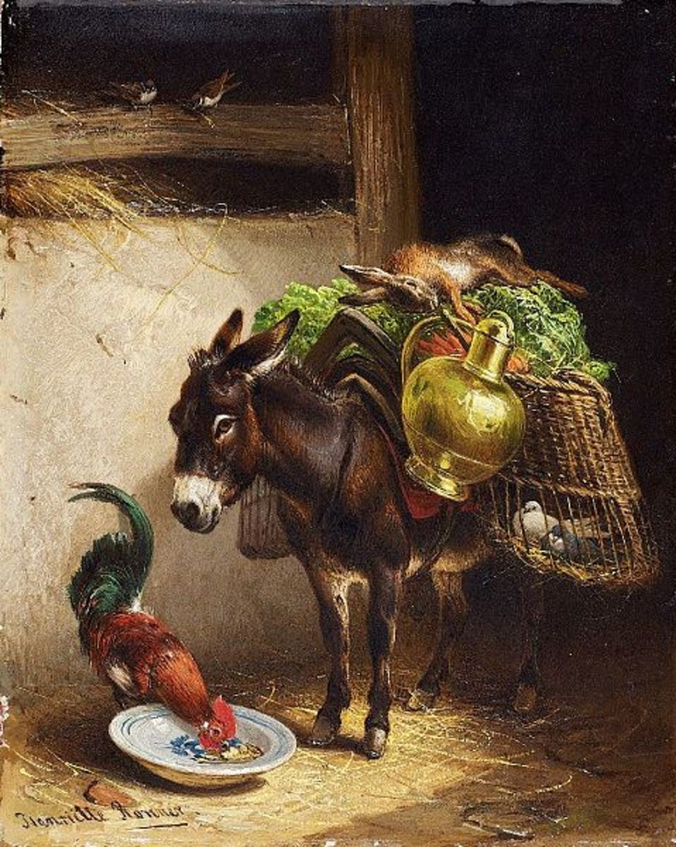 Donkey and Rooster in Stall is in the public domain in the United States and those countries with a copyright term of life of the author plus 70 years or less.