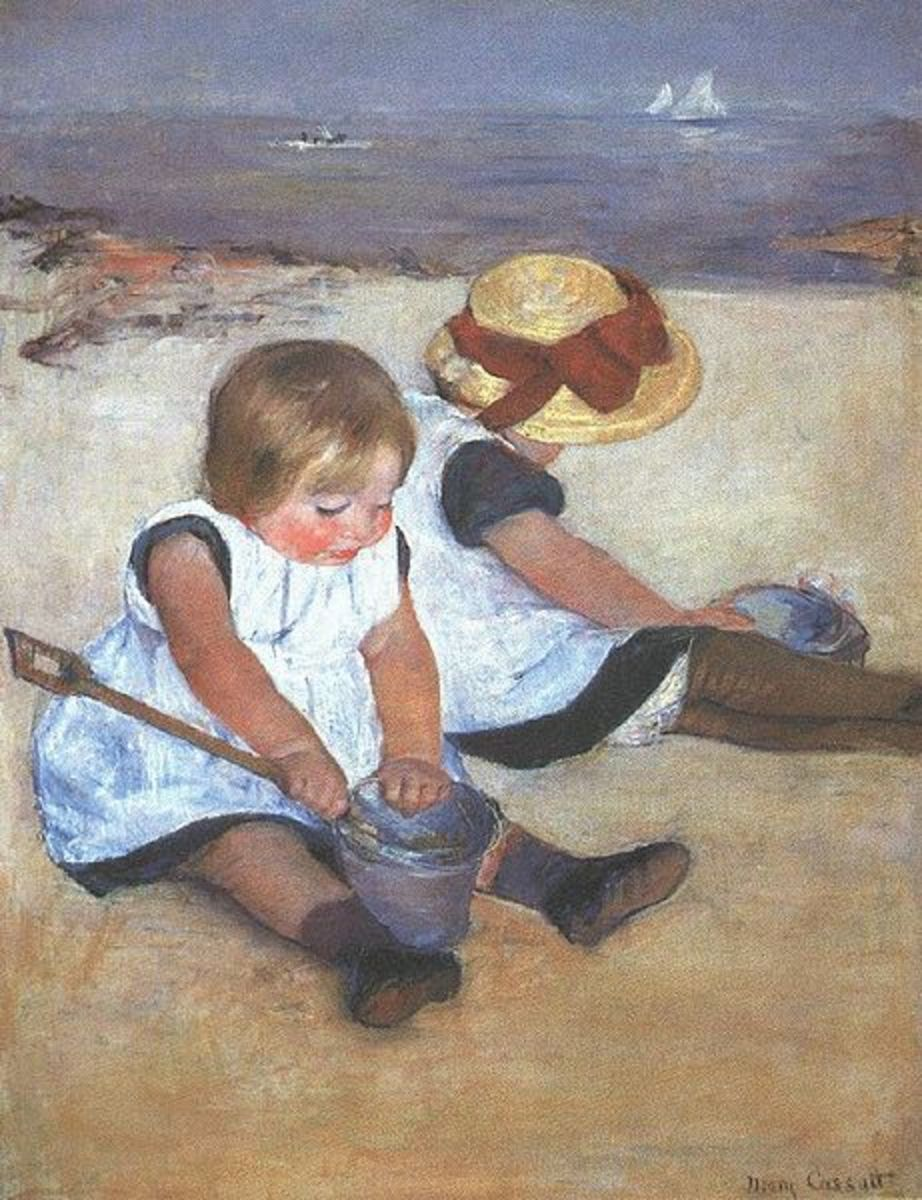 Children on the Beach (1884) is in the public domain in the United States and those countries with a copyright term of life of the author plus 70 years or less.