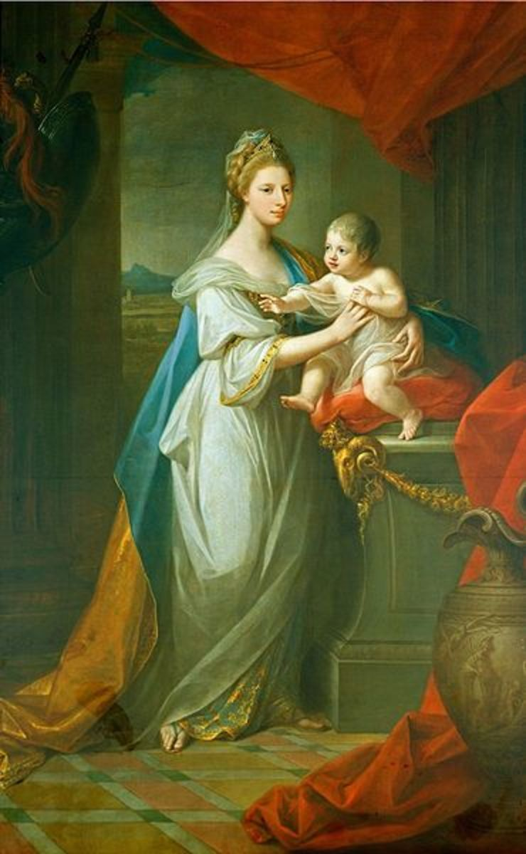 This Portrait of Augusta of Hanover with her First Born Son, Karl Georg of Brunswick (1767) is in the public domain in the United States and those countries with a copyright term of life of the author plus 100 years or less.