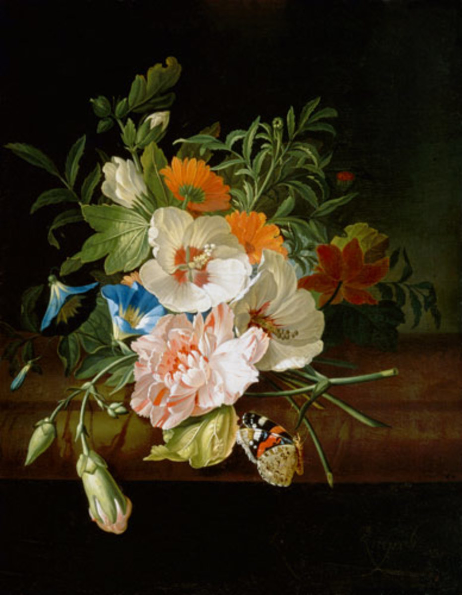 Flower Still Life with Butterflies on a Stone Bench is in the public domain in the United States and those countries with a copyright term of life of the author plus 100 years or less.